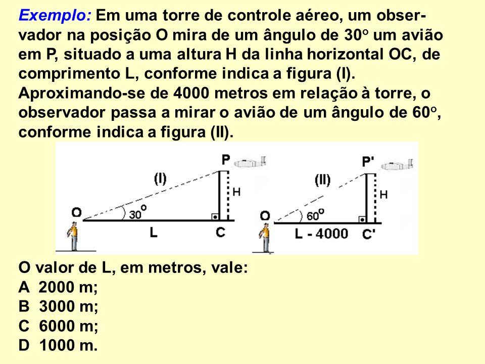 Exemplo: Em uma torre de controle aéreo, um obser-vador na posição O mira de um ângulo de 30o um avião em P, situado a uma altura H da linha horizontal OC, de comprimento L, conforme indica a figura (I). Aproximando-se de 4000 metros em relação à torre, o observador passa a mirar o avião de um ângulo de 60o, conforme indica a figura (II).