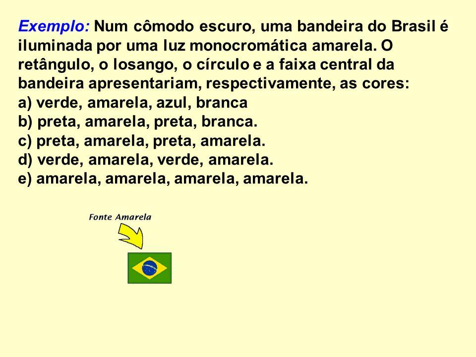 Exemplo: Num cômodo escuro, uma bandeira do Brasil é iluminada por uma luz monocromática amarela.