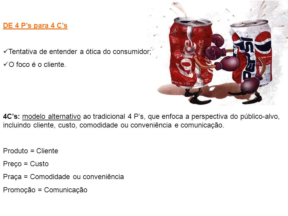 DE 4 P's para 4 C's Tentativa de entender a ótica do consumidor; O foco é o cliente.