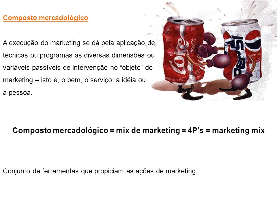 Composto mercadológico = mix de marketing = 4P's = marketing mix