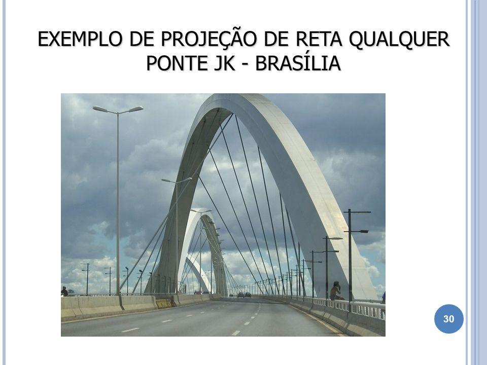 EXEMPLO DE PROJEÇÃO DE RETA QUALQUER PONTE JK - BRASÍLIA