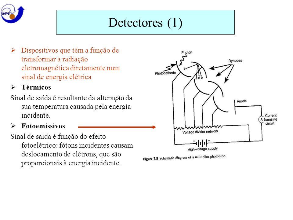 Detectores (1) Dispositivos que têm a função de transformar a radiação eletromagnética diretamente num sinal de energia elétrica.