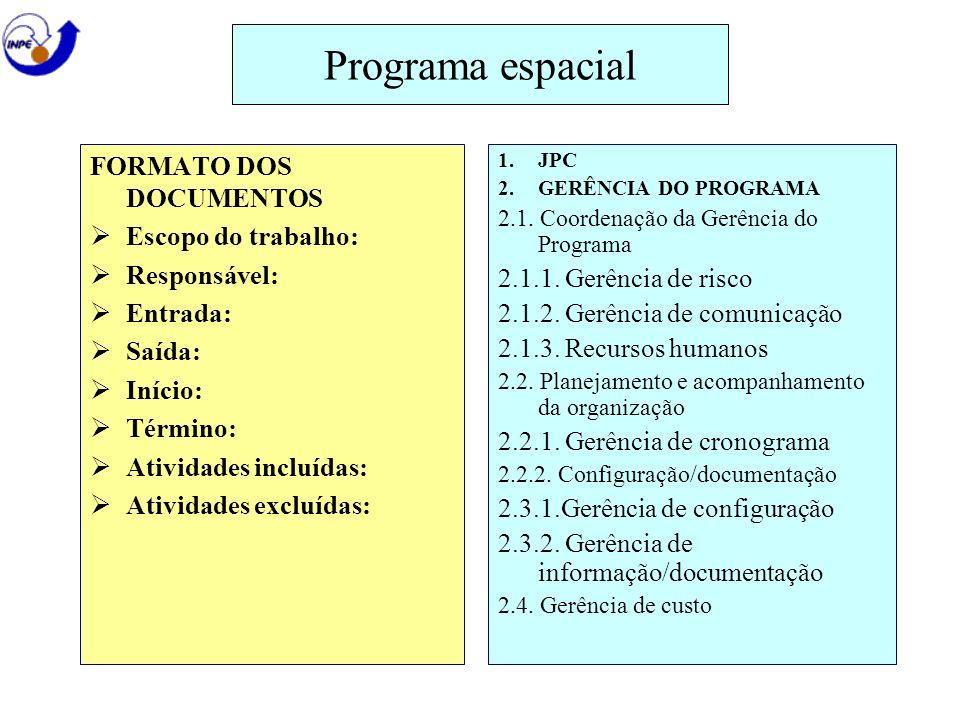 Programa espacial FORMATO DOS DOCUMENTOS Escopo do trabalho: