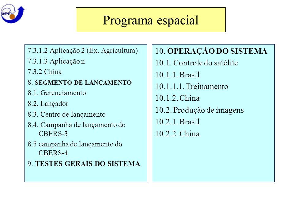 Programa espacial 10. OPERAÇÃO DO SISTEMA 10.1. Controle do satélite