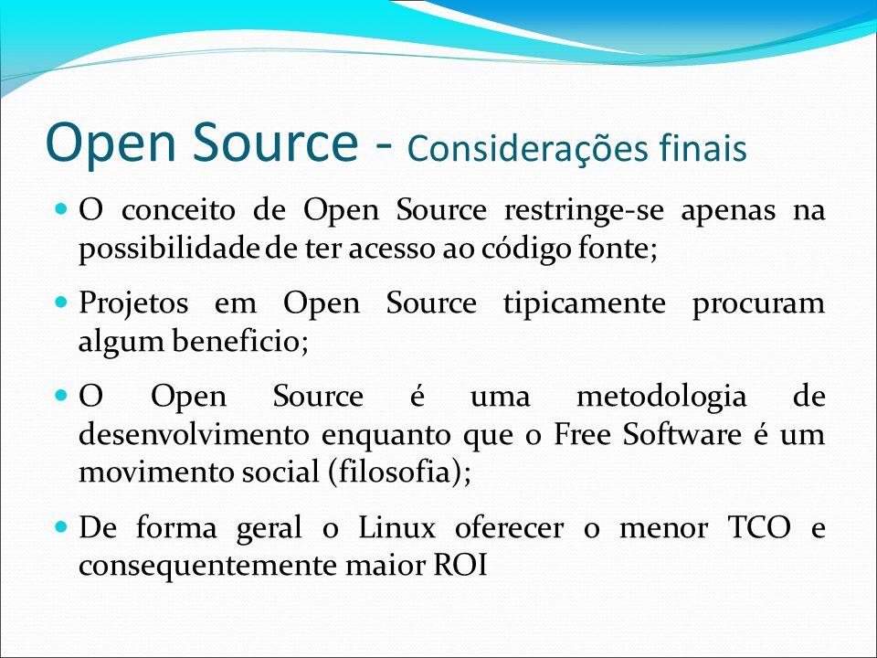 Open Source - Considerações finais