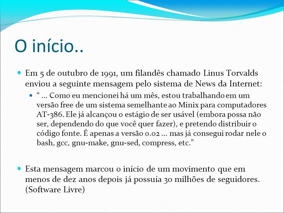 O início.. Em 5 de outubro de 1991, um filandês chamado Linus Torvalds enviou a seguinte mensagem pelo sistema de News da Internet: