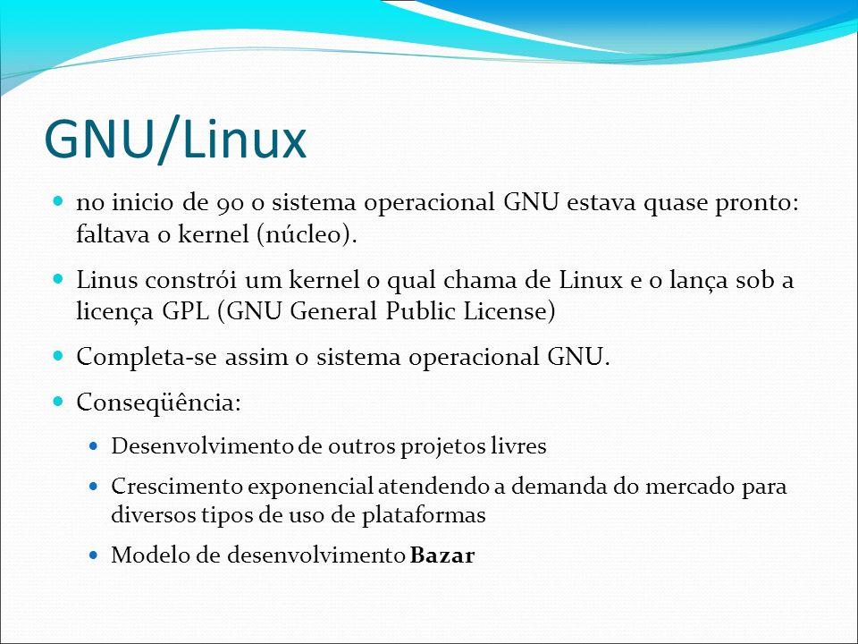 GNU/Linux no inicio de 90 o sistema operacional GNU estava quase pronto: faltava o kernel (núcleo).