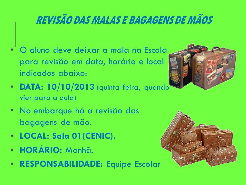 REVISÃO DAS MALAS E BAGAGENS DE MÃOS