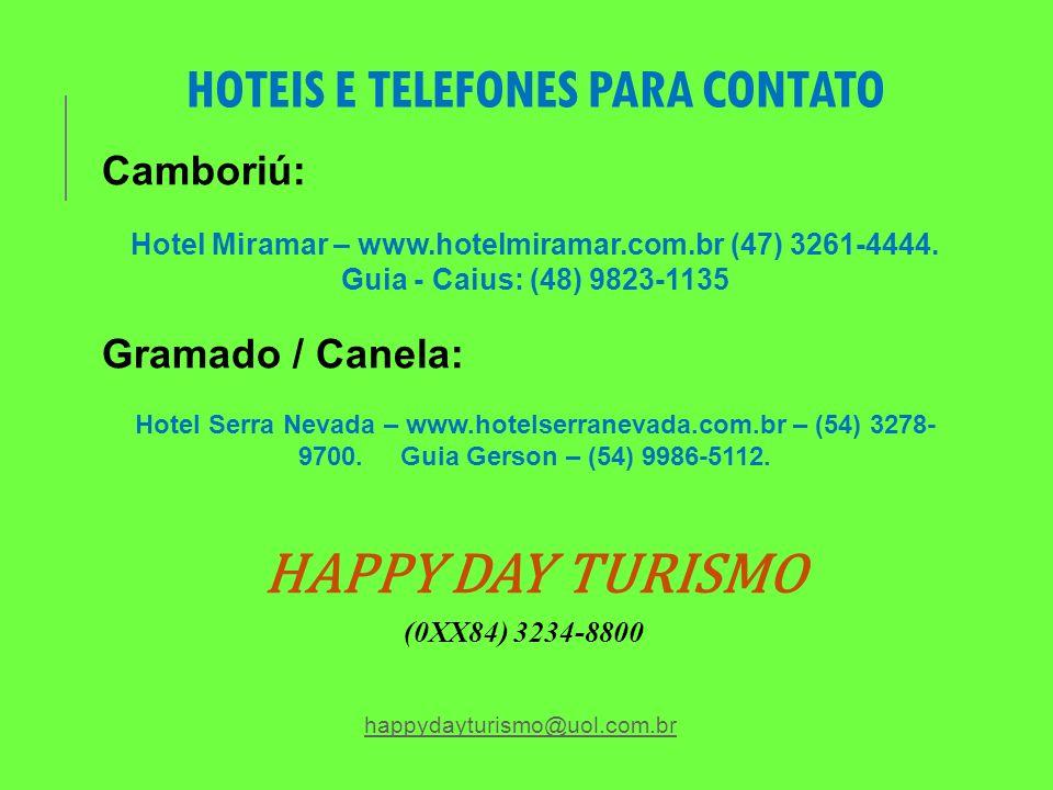 HOTEIS E TELEFONES PARA CONTATO