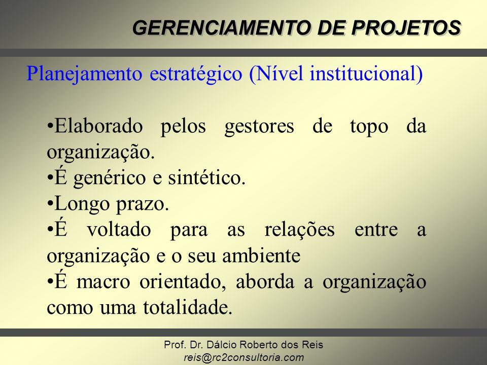 Planejamento estratégico (Nível institucional)