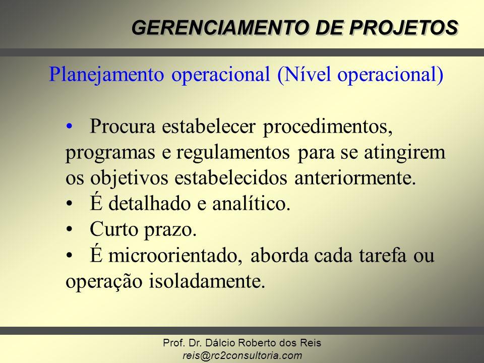 Planejamento operacional (Nível operacional)