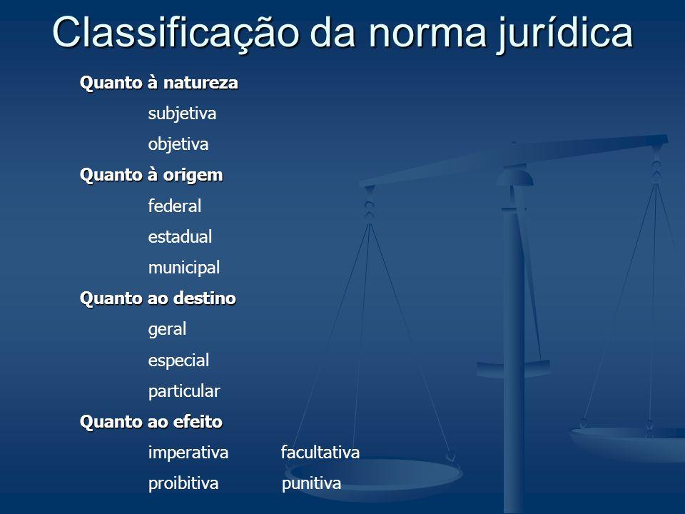 Classificação da norma jurídica