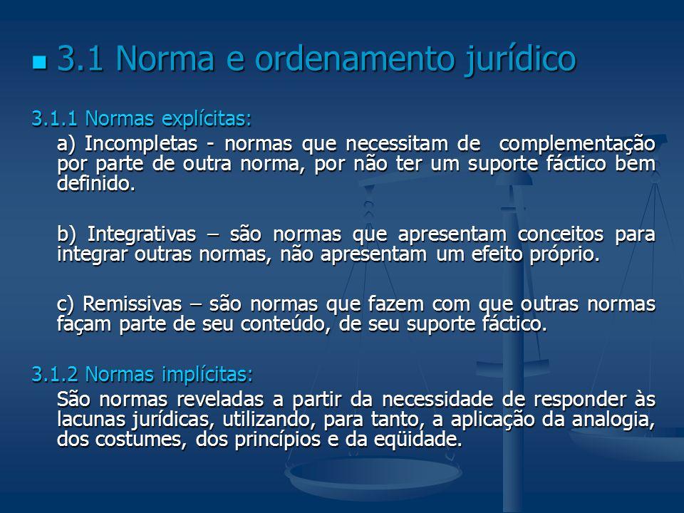 3.1 Norma e ordenamento jurídico