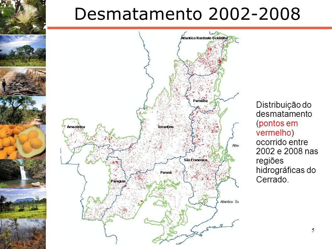 Desmatamento 2002-2008 Distribuição do desmatamento (pontos em vermelho) ocorrido entre 2002 e 2008 nas regiões hidrográficas do Cerrado.