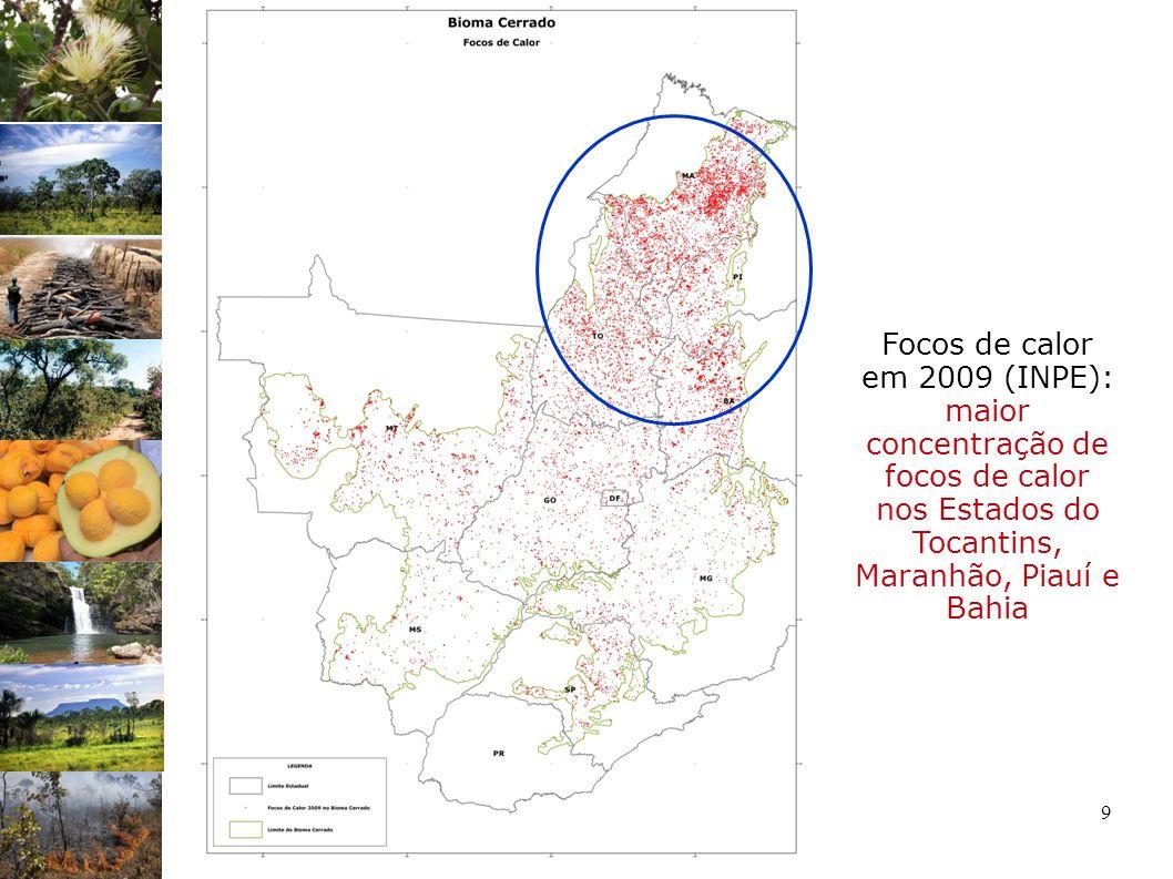 Focos de calor em 2009 (INPE): maior concentração de focos de calor nos Estados do Tocantins, Maranhão, Piauí e Bahia