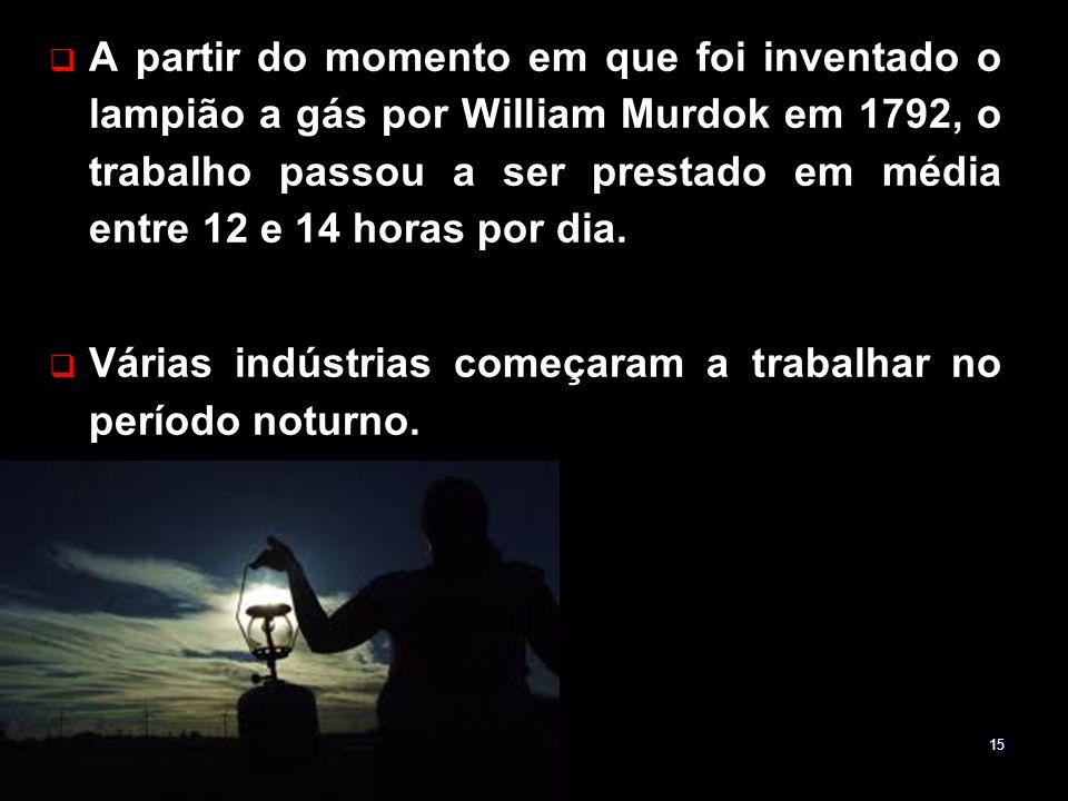 A partir do momento em que foi inventado o lampião a gás por William Murdok em 1792, o trabalho passou a ser prestado em média entre 12 e 14 horas por dia.