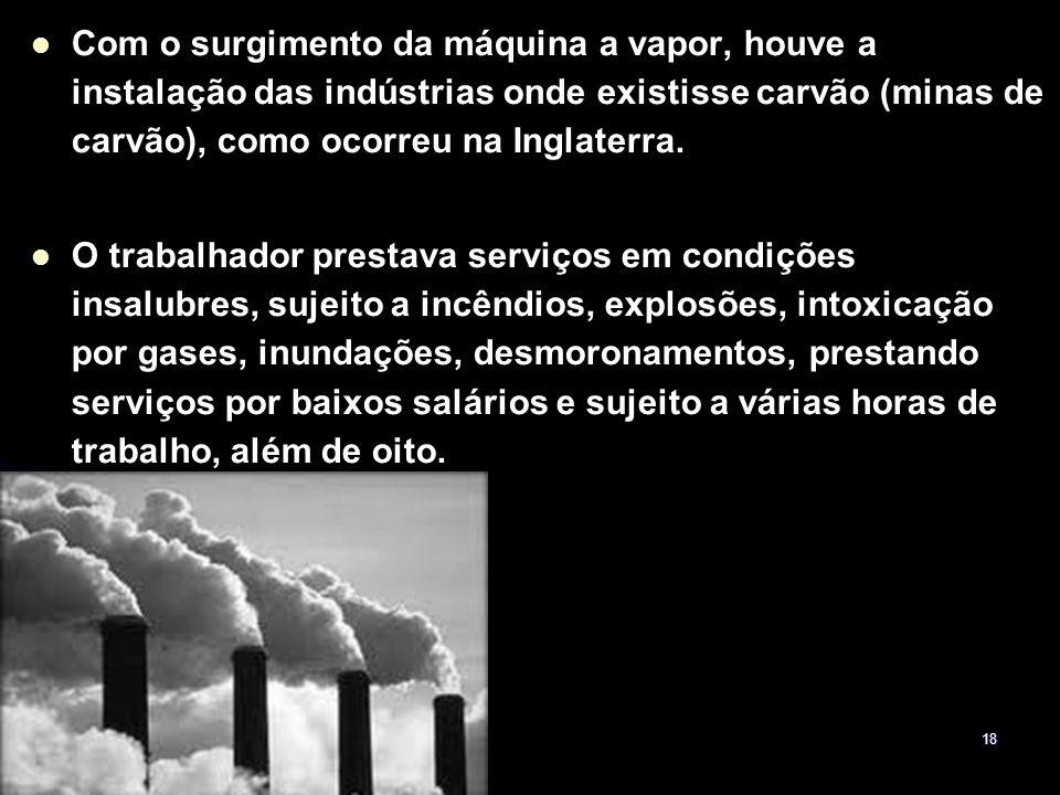 Com o surgimento da máquina a vapor, houve a instalação das indústrias onde existisse carvão (minas de carvão), como ocorreu na Inglaterra.