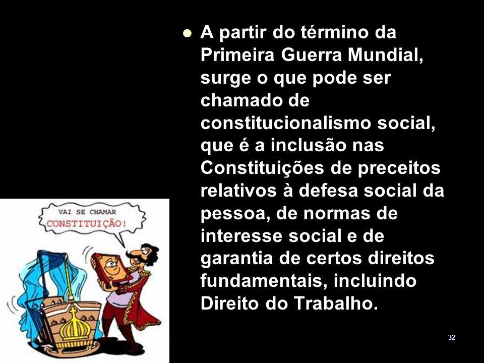 A partir do término da Primeira Guerra Mundial, surge o que pode ser chamado de constitucionalismo social, que é a inclusão nas Constituições de preceitos relativos à defesa social da pessoa, de normas de interesse social e de garantia de certos direitos fundamentais, incluindo Direito do Trabalho.