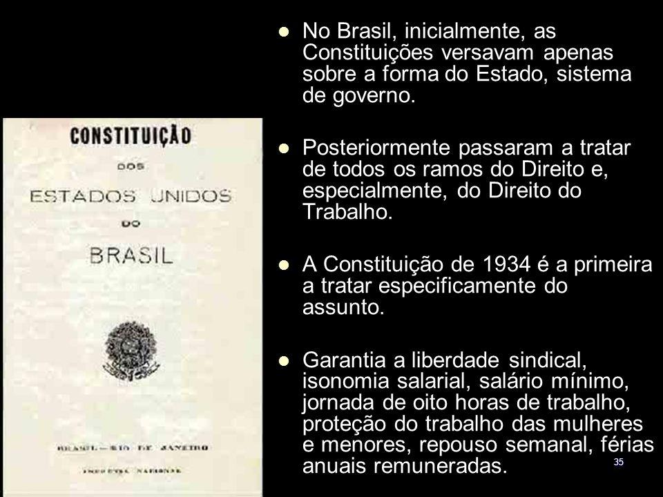 No Brasil, inicialmente, as Constituições versavam apenas sobre a forma do Estado, sistema de governo.