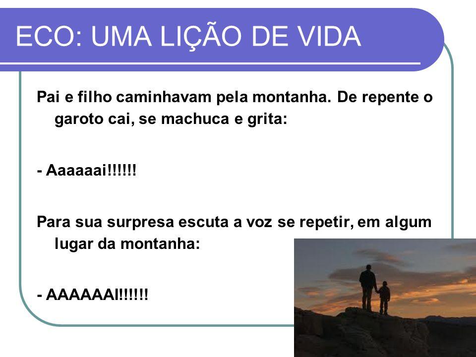 ECO: UMA LIÇÃO DE VIDA Pai e filho caminhavam pela montanha. De repente o garoto cai, se machuca e grita: