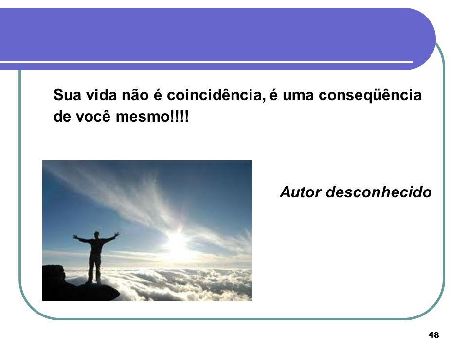 Sua vida não é coincidência, é uma conseqüência de você mesmo!!!!