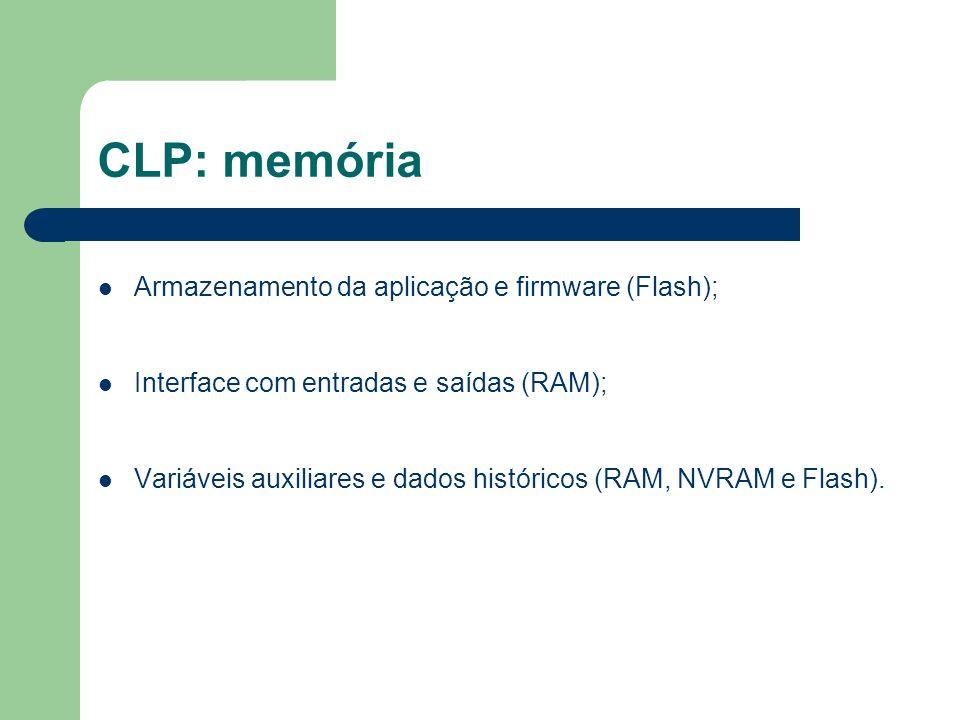 CLP: memória Armazenamento da aplicação e firmware (Flash);