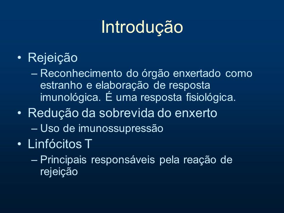 Introdução Rejeição Redução da sobrevida do enxerto Linfócitos T