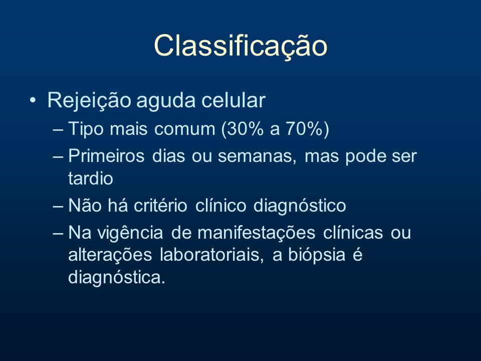 Classificação Rejeição aguda celular Tipo mais comum (30% a 70%)