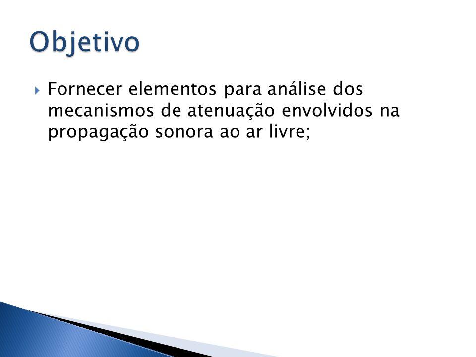 Objetivo Fornecer elementos para análise dos mecanismos de atenuação envolvidos na propagação sonora ao ar livre;