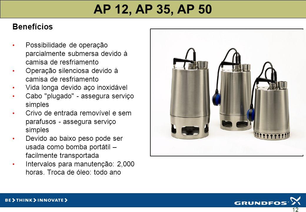 AP 12, AP 35, AP 50 Benefícios. Possibilidade de operação parcialmente submersa devido à camisa de resfriamento.