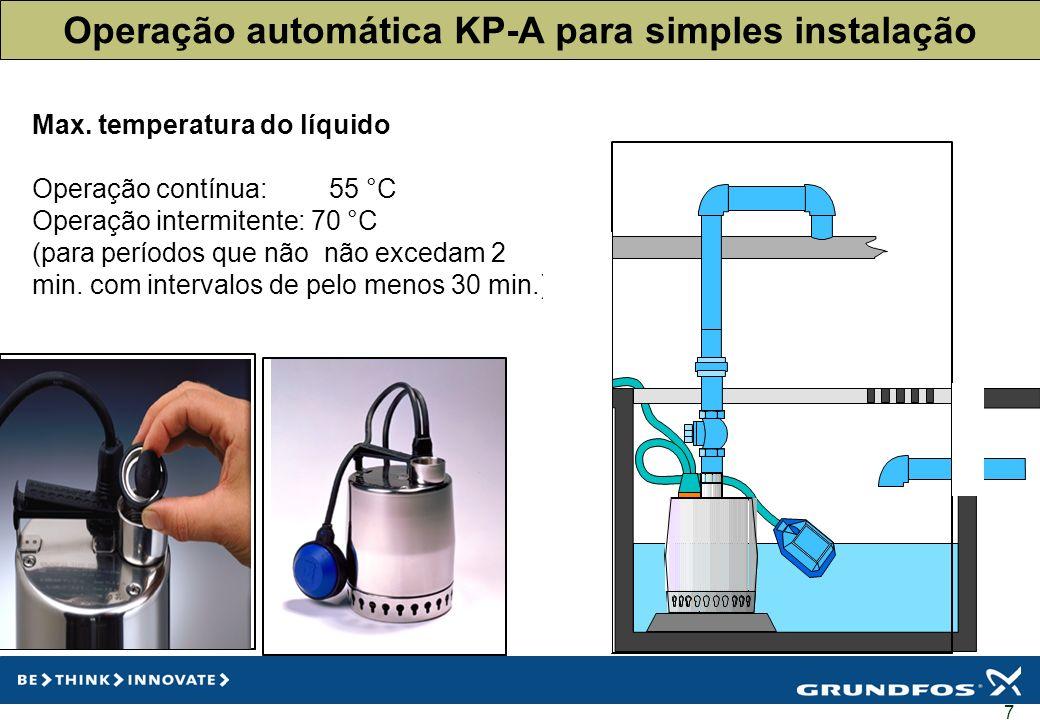 Operação automática KP-A para simples instalação