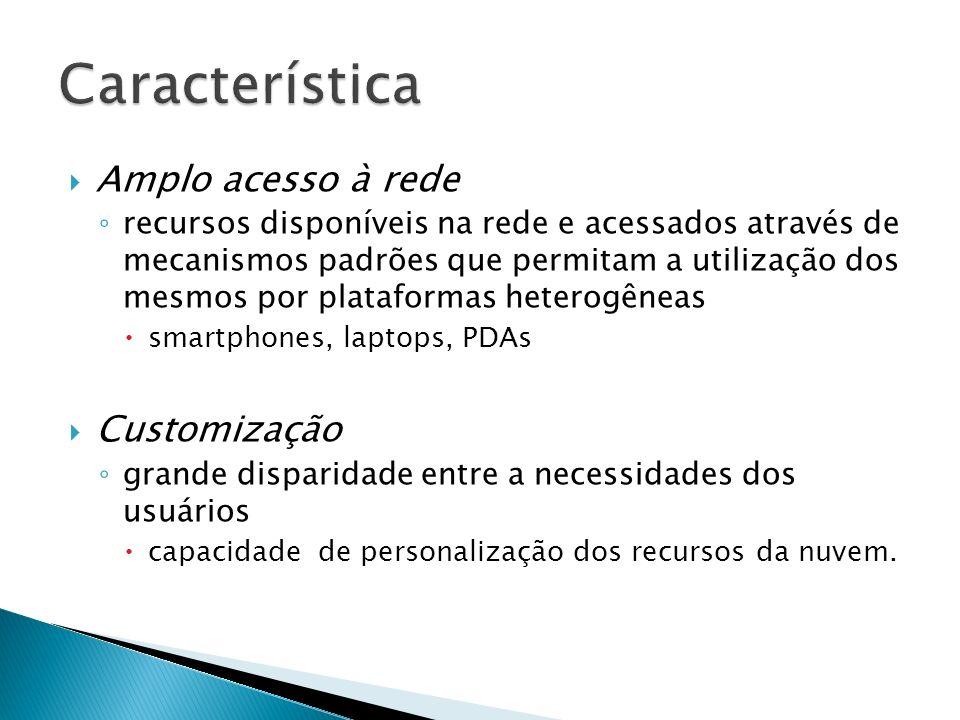 Característica Amplo acesso à rede Customização