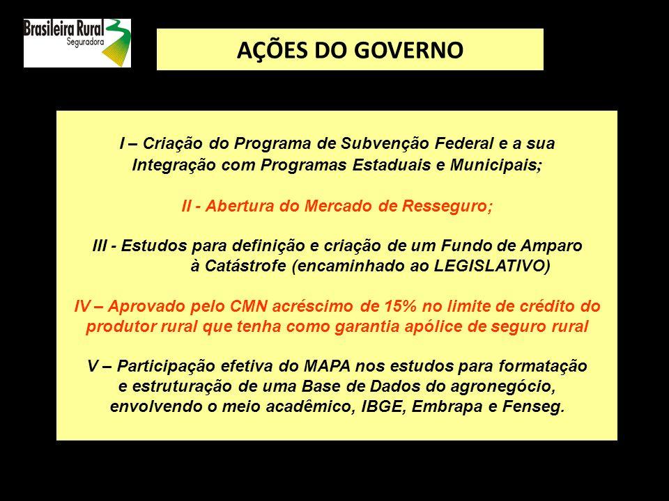 AÇÕES DO GOVERNO I – Criação do Programa de Subvenção Federal e a sua