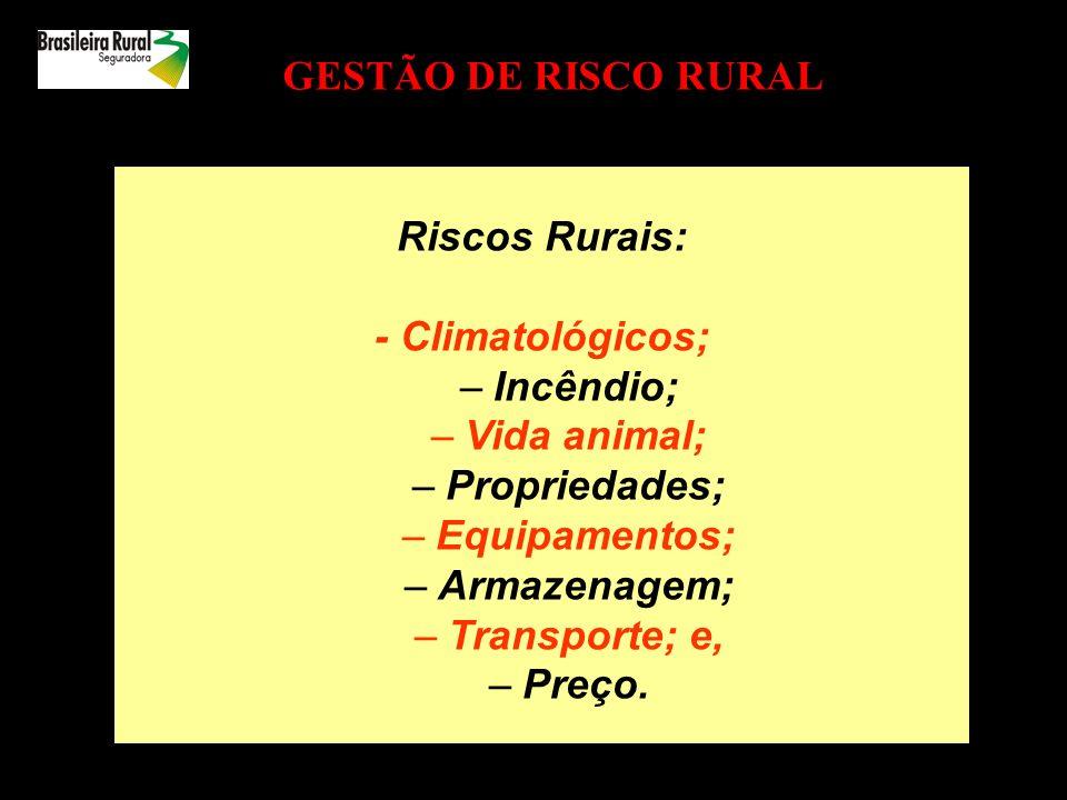 GESTÃO DE RISCO RURAL Riscos Rurais: - Climatológicos; Incêndio; Vida animal; Propriedades; Equipamentos;