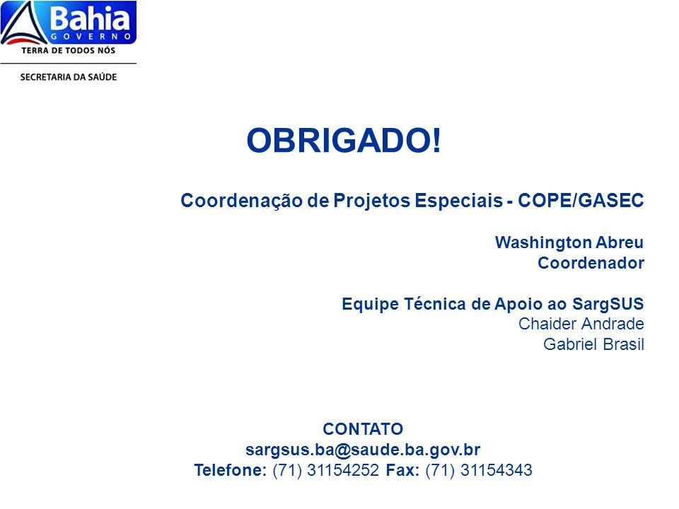 OBRIGADO! Coordenação de Projetos Especiais - COPE/GASEC