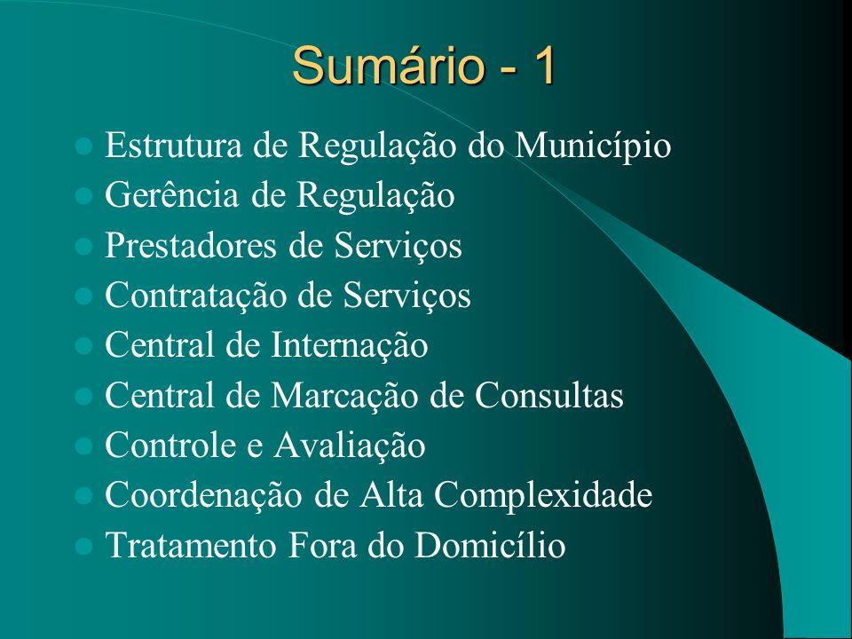 Sumário - 1 Estrutura de Regulação do Município Gerência de Regulação