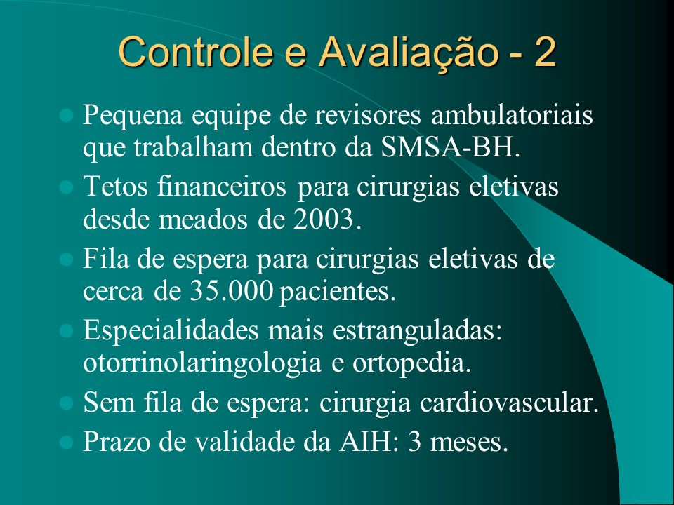 Controle e Avaliação - 2Pequena equipe de revisores ambulatoriais que trabalham dentro da SMSA-BH.