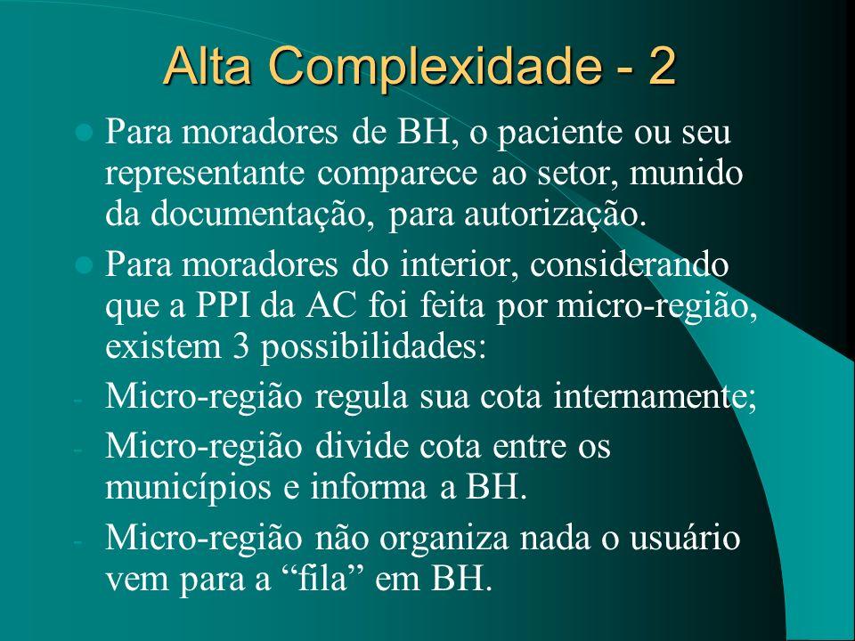 Alta Complexidade - 2Para moradores de BH, o paciente ou seu representante comparece ao setor, munido da documentação, para autorização.