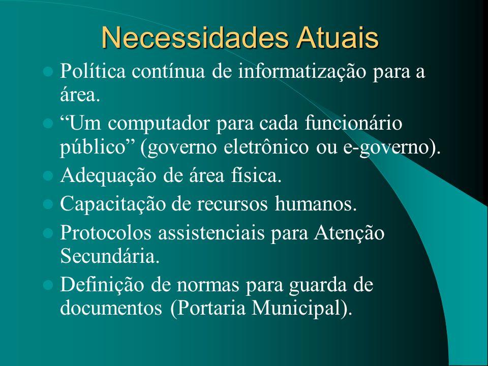 Necessidades Atuais Política contínua de informatização para a área.