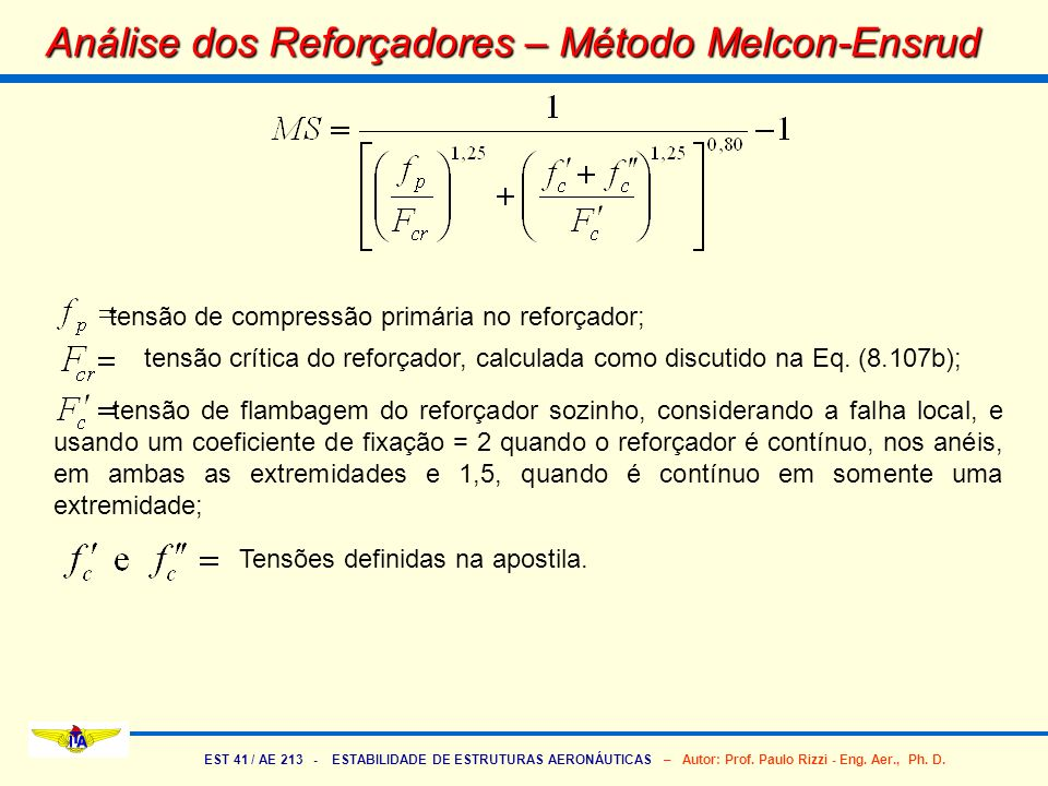 Análise dos Reforçadores – Método Melcon-Ensrud