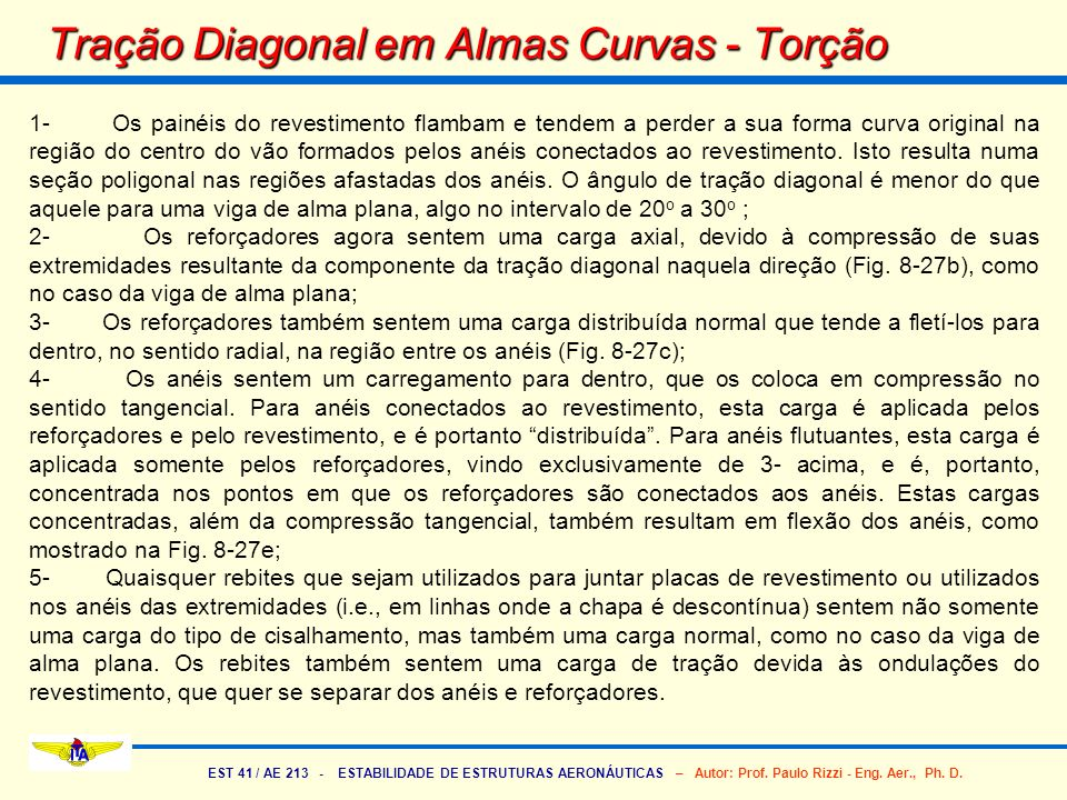 Tração Diagonal em Almas Curvas - Torção