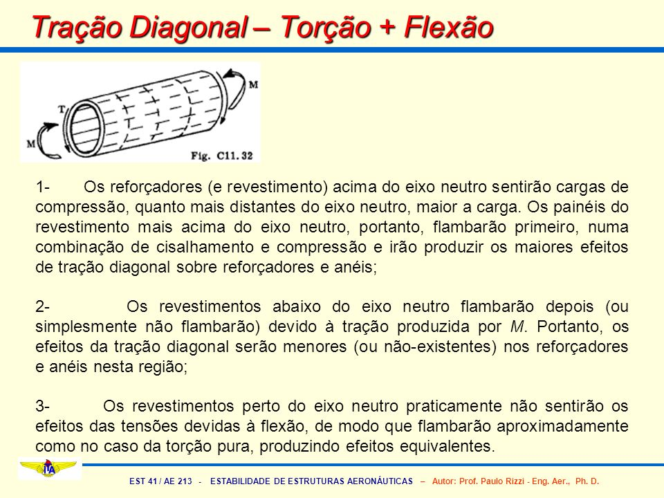 Tração Diagonal – Torção + Flexão