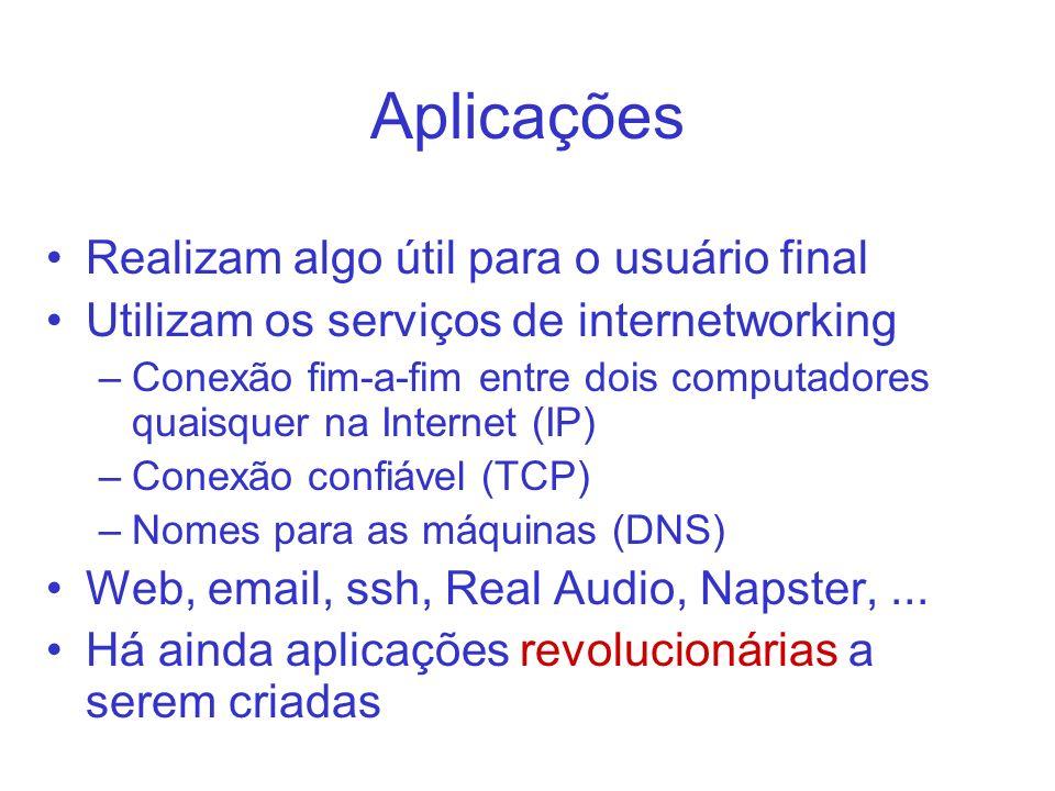 Aplicações Realizam algo útil para o usuário final