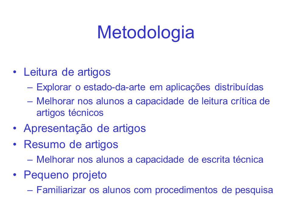 Metodologia Leitura de artigos Apresentação de artigos