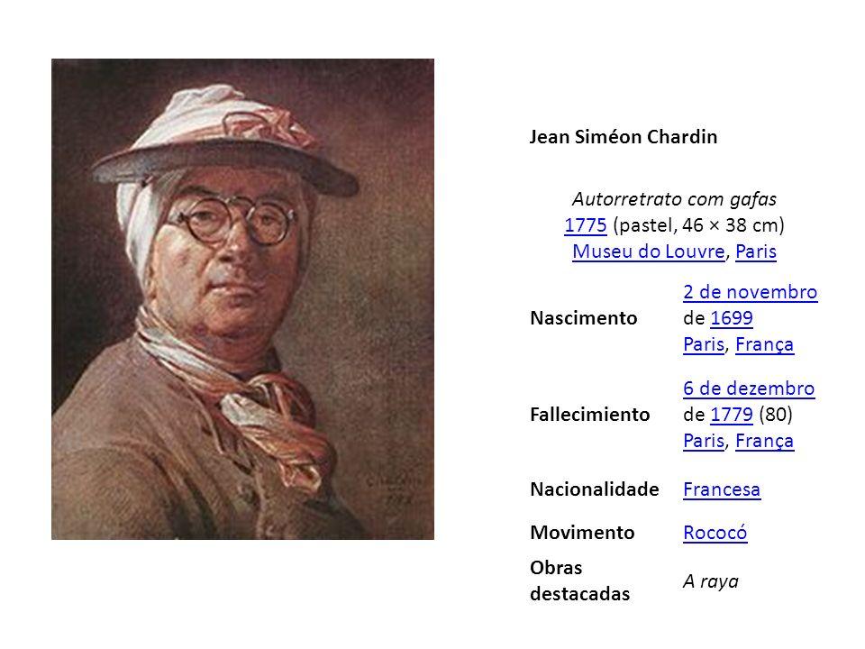 Jean Siméon ChardinAutorretrato com gafas 1775 (pastel, 46 × 38 cm) Museu do Louvre, Paris. Nascimento.