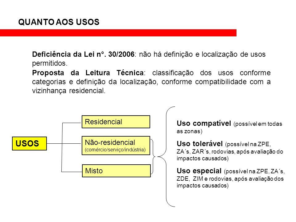 QUANTO AOS USOS Deficiência da Lei n°. 30/2006: não há definição e localização de usos permitidos.
