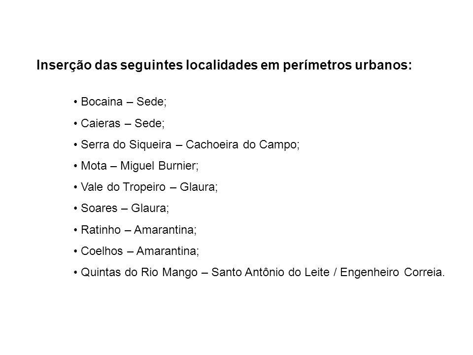Inserção das seguintes localidades em perímetros urbanos: