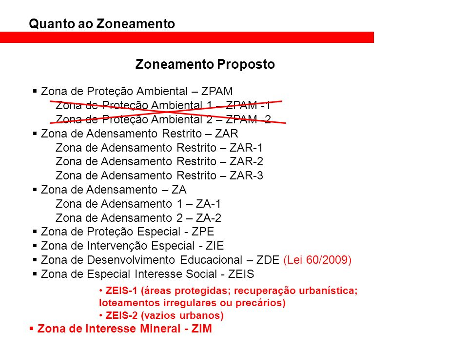Quanto ao Zoneamento Zoneamento Atual Zoneamento Proposto