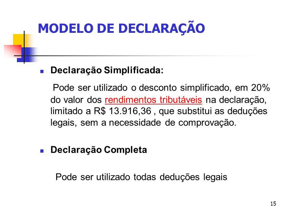 MODELO DE DECLARAÇÃO Declaração Simplificada: