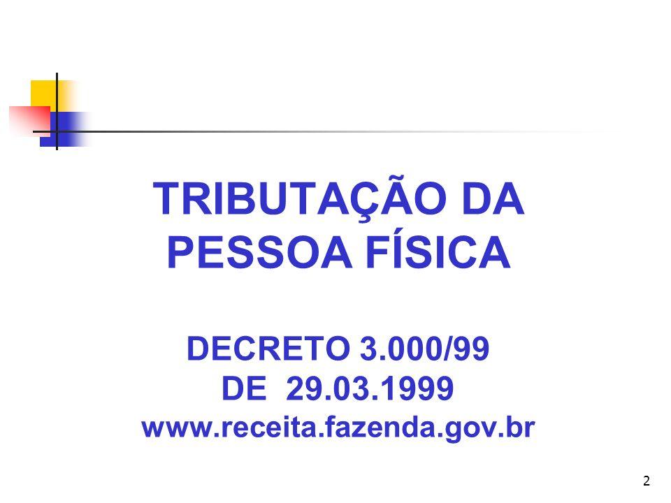 TRIBUTAÇÃO DA PESSOA FÍSICA DECRETO 3. 000/99 DE 29. 03. 1999 www